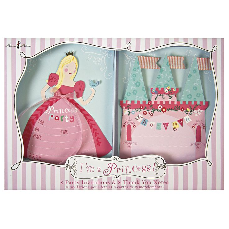 I'm a Princess Invite & Thank You Set ~  A princess needs to send the very best invitations to her guests and to thank them with style.  These beautifully produced invitations and thank you cards are the perfect solution.  Featuring a little princess and princess castle, with lashings of pink and embellished with luxury sheer ribbon, the cards come in a beautifully patterned presentation box.  Pack contains 8 invitations and 8 thank you cards  £12.50