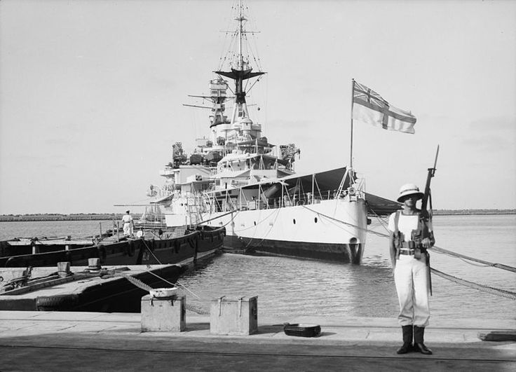 HMS Repulse, Renown Class Battlecruiser at Haifa in 1938. Built by John Brown & Co, commissioned on 18/08/16. The only combat seen during WW I was Second Battle of Heligoland Bight. Two reconstructions during the war modernised her. Start of WW II spent hunting German raiders, after participated in Norweigan Campaign escorted a troop convoy to Far East in late '41. Joine Force Z and was sunk, along with HMS Prince of Wales, by Japanese bombing on 10/12/41.