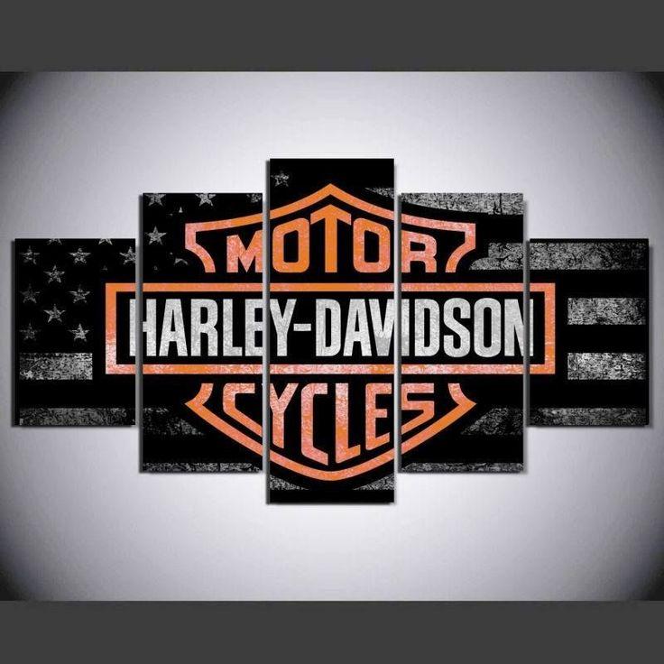 5 Panel Framed Harley Davidson Cycles Wall Art Canvas