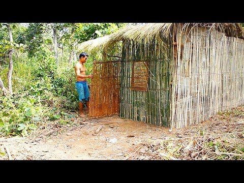 Primitive Technology & Wilderness Survival Skills - Building a Hut Wall ...