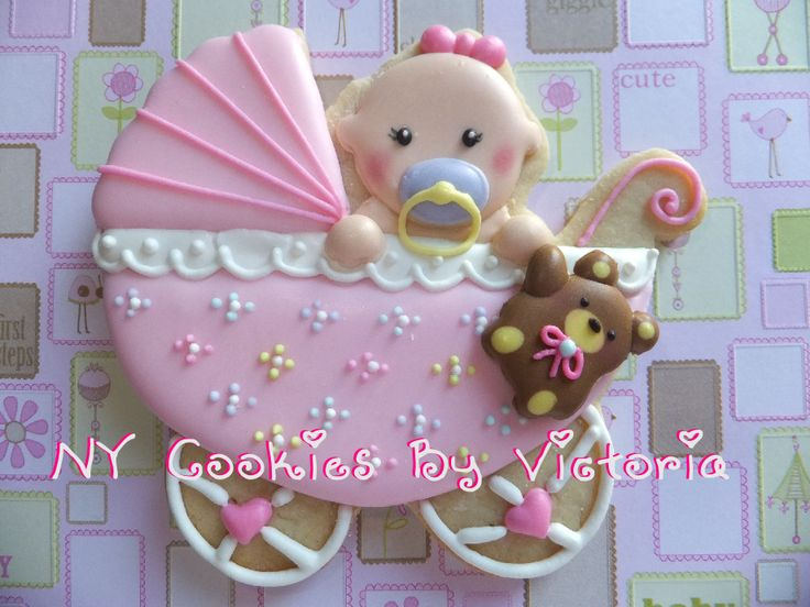 Baby Girl in a carriage with teddy bear,see more pictures @ : https://www.facebook.com/pages/NY-Cookies-By-Victoria/390369164337852?sk=photos_albums