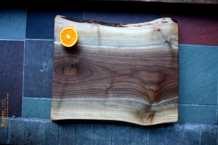 Personalized Kitchen Gift- Large Black Walnut with Honed Bark & Tiger Curl - Engagement Gifts - Chopping board  290. via Etsy.