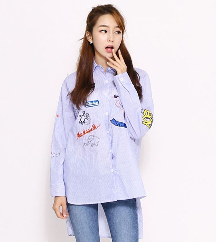 6080 Ruang Women's Over fit Drawing Embroidery Patch Unbalance Shirts, 2 options…