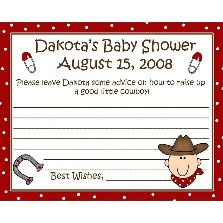 cowboy themed baby shower | 24 Personalized Baby Shower Advice Cards - Little Cowboy Theme