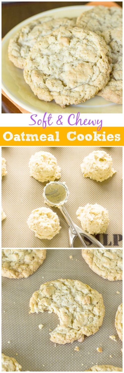Soft & Chewy Oatmeal Cookies--you won't be able to eat just one! #cookies