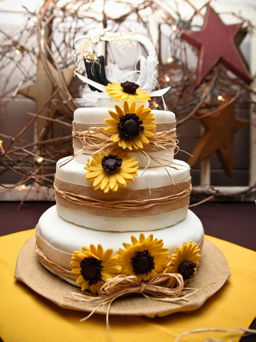 country sun flowers wedding cake Country Wedding Cakes