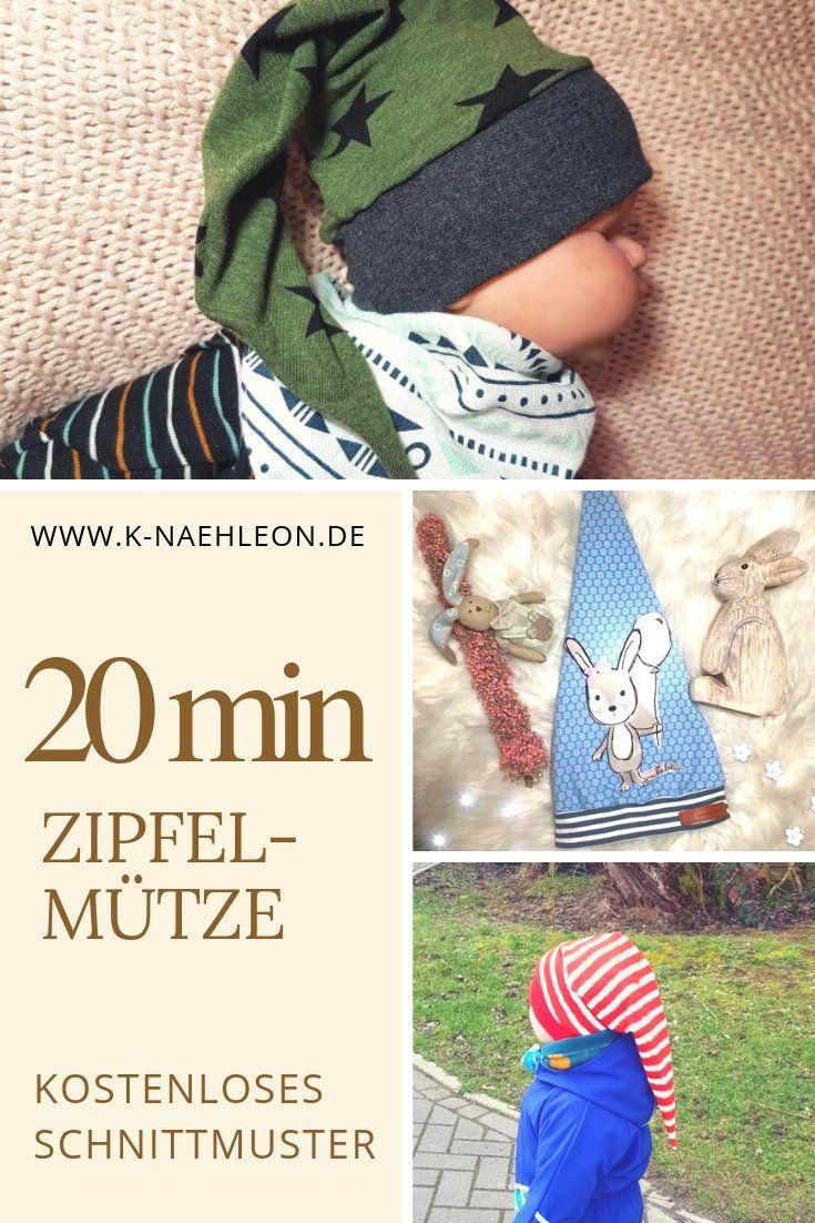 Kostenloses Schnittmuster Zipfelmütze für Babys und (Klein-)Kinder. Das Freebo