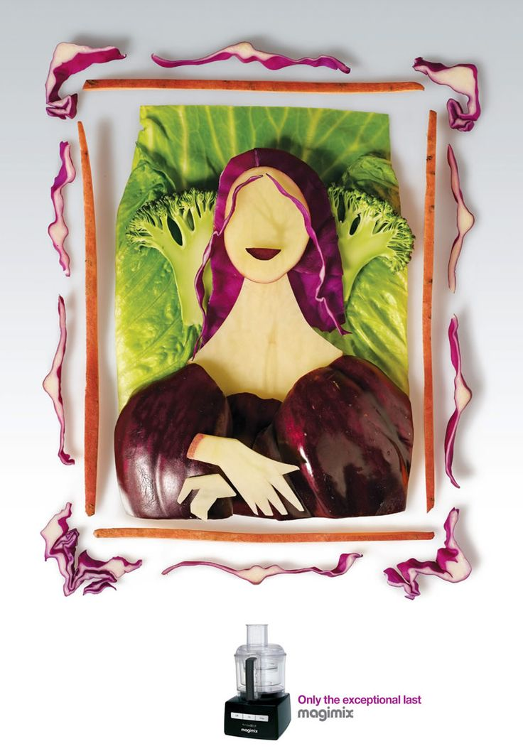 Famous Paintings Made From Veggies and Fruit.  The posters were designed by Shalmor Avnon Amichay from Y Interactive, Tel Aviv.: Advertising Agency, Creative Advertising, Mona Lisa, Creative Magimix Blender Ads 1, Monalisa, Foodart, Food Art, Creative Ads
