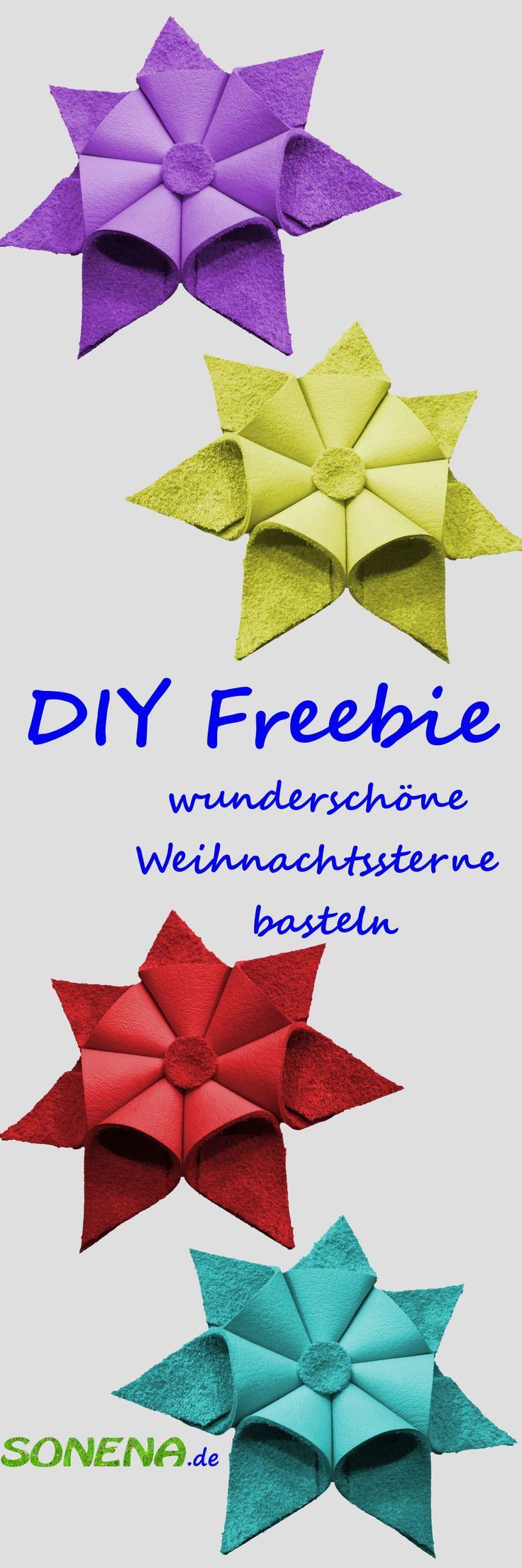 DIY Freebie -  kostenlose Anleitung - wunderschöne Weihnachtssterne aus Leder, Tonpapier, Holzspänen u.ä. basteln - Sterne als Weihnachtsdeko jetzt selber machen und das Haus und die Wohnung für den Advent und für weihnachten schmücken. Die Sterne eignen sich als Tischdeko zum verzieren von Weihnachtskarten, als Tannenbaumschmuck oder als besonderen Geschenkanhänger für Weihnachtsgeschenke