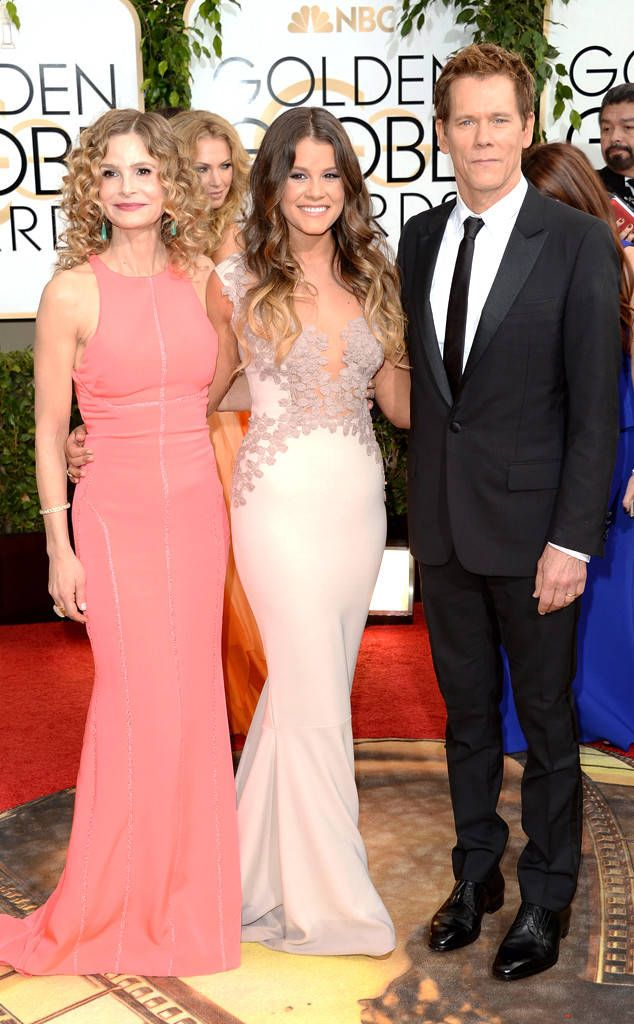 Kyra Sedgwick, Sosie Bacon & Kevin Bacon from 2014 Golden Globes: Red Carpet Arrivals  In J. Mendel (Sedgwick)
