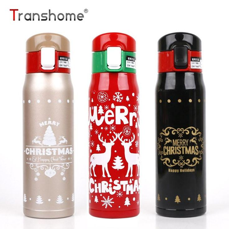 Transhome Christmas Water Bottle 500ml High Quality Stainless Steel Thermos Thermal Cup Travel Mug Christmas Novetly Unique Gift
