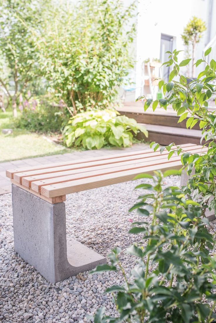 DIY – garden bench with concrete and wood – Leelah Loves