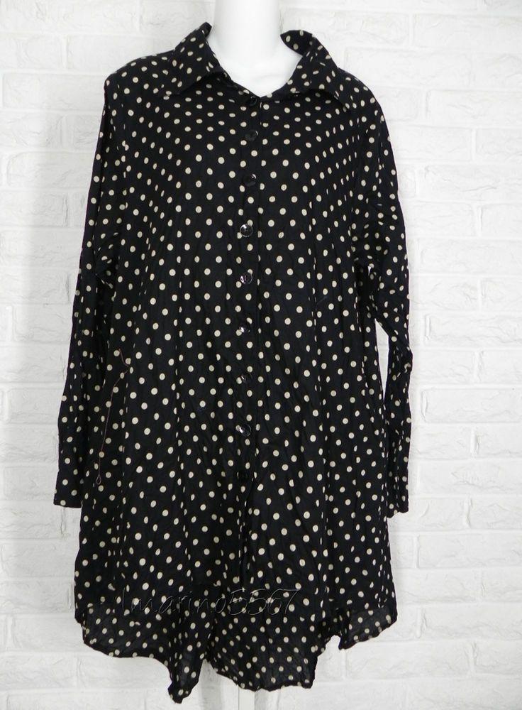 TULIP Artists Tunic Shirt Button Down Black Khaki Polka Dot New S M L #Tulip #ButtonDownShirt #Casual