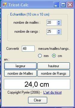 Logiciel calcul échantillon tricot  GENIAL !! évite les calculs de règle de…