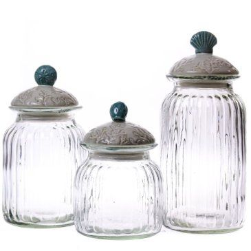 Nautical glass canister set for Hearth and home designs canister set
