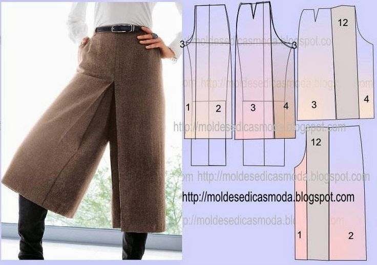 Illustration showing how to make a split skirt / gaucho / culotte using a standard pant pattern.