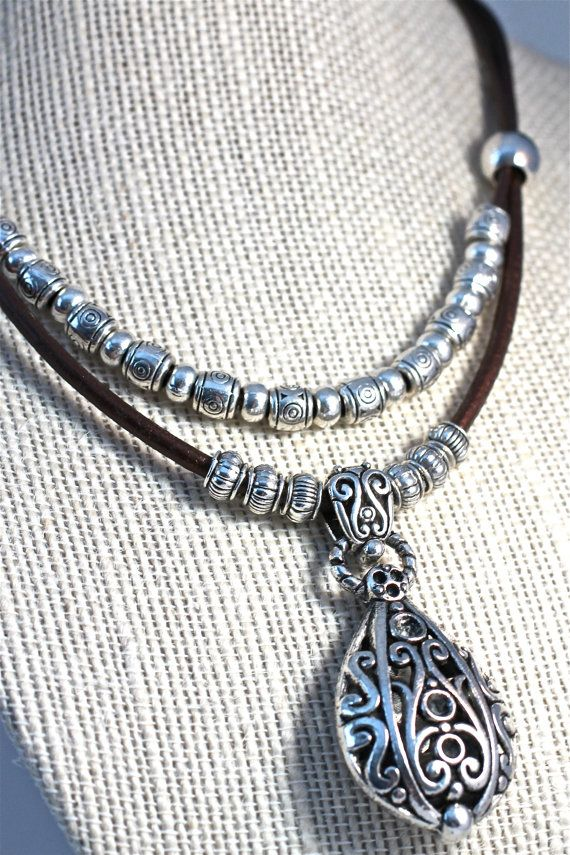 Scroll Work Silver Pendant Necklace Hip Leather by amyfine on Etsy