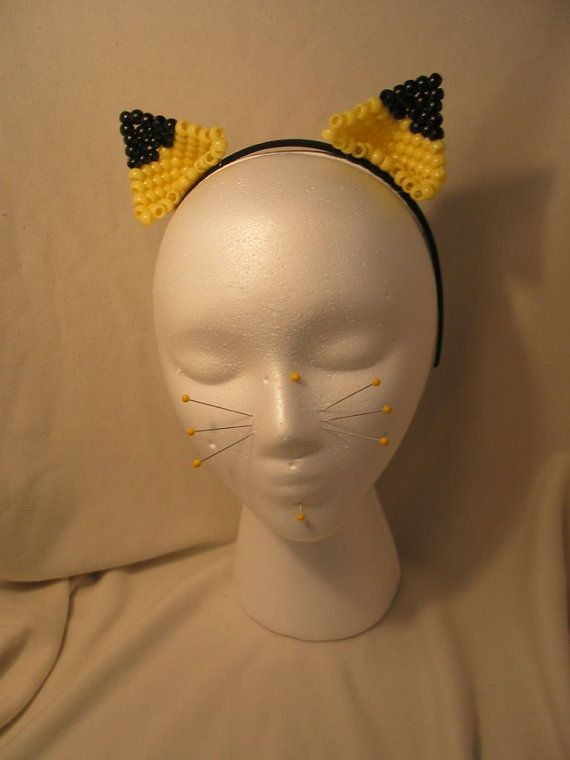Beaded Kandi Pikachu Cat Ears by KandiLolita on Etsy, $25.00
