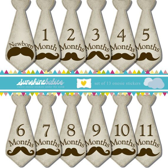 Monthly Baby Tie Stickers for Boys - Vintage Mustache - Great Photo Prop and Baby Shower Gift on Etsy, $9.99