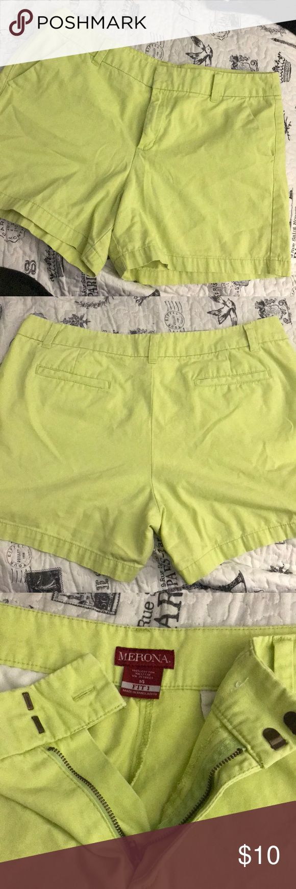 Neon Lime Green Shorts Merona brand shorts. Hardly used. Zipper and clasps in very good condition. As shown in the picture, the inner button inside is missing. Lost it in the washing machine. Oopsie. Back pockets are just for design, you can't put your hands in but there are two front pockets which are large. Merona Shorts