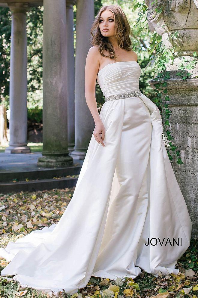 Off White Strapless Embellished Belt A-Line Satin Bridal Gown - Jovani 33787