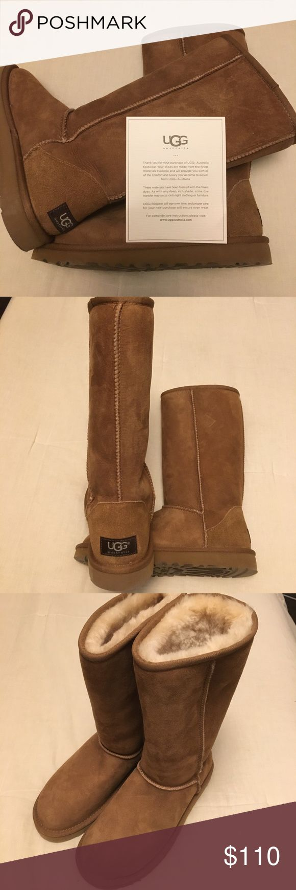 Ugg Classic Tall - Chesnut Size 6, great shape, no stains, worn couple times see picture of bottom soles.  In original box. UGG Shoes Winter & Rain Boots