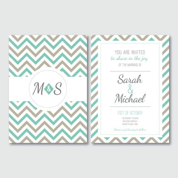 Invitation suite, Printable wedding invitations, Chevron invitations, Chevron RSVP, Chevron wedding, Thank you cards, Aqua and grey wedding