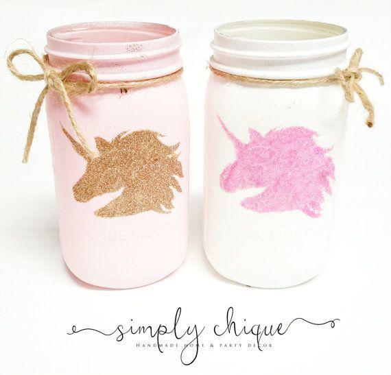 Unicorn Sparkle Mason Jars Mason Jars by simplychiqueboutique