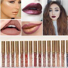 16 Cores de Maquiagem Pigmento Metálico Dourado Fosco Batom Líquido À Prova D' Água de Longa Duração Lip Gloss Tatuagem Fácil de Usar Cosméticos alishoppbrasil