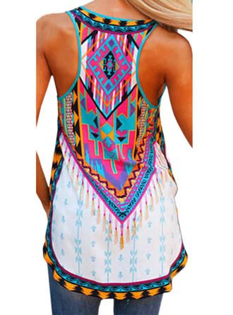 VERYVOGA Print Round Neck Sleeveless Casual Tank Tops