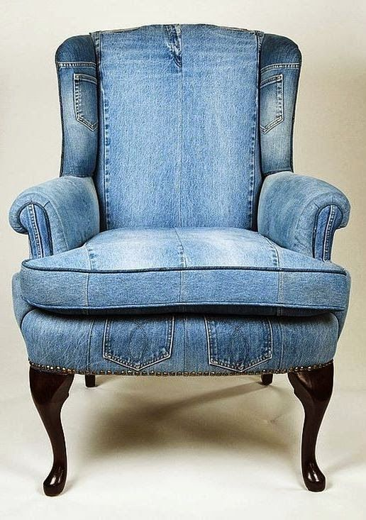 """""""Un-stuffy"""" a wing-back by recovering with up-cycled jeans.  Casual and durable."""