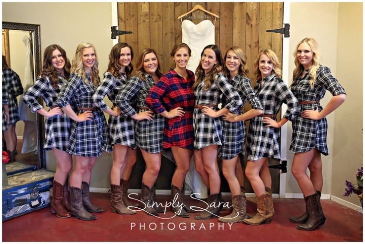 Rustic Wedding Photo Ideas & Poses for the Bride & Bridesmaids - Plaid Dresses with Cowboy Boots for Getting Ready - Billings, MT Wedding Photographer