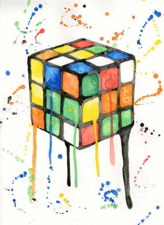 Original Rubik's Cube watercolor print. by SamsSimpleDecor on Etsy, $10.00