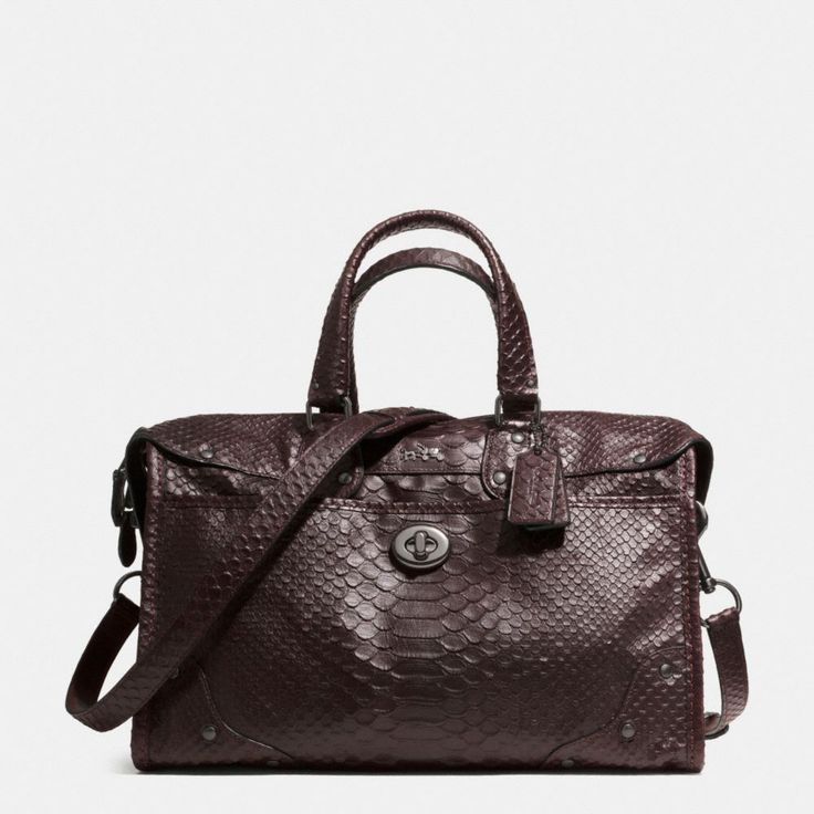 The Rhyder Satchel In Python Embossed Leather From Coach