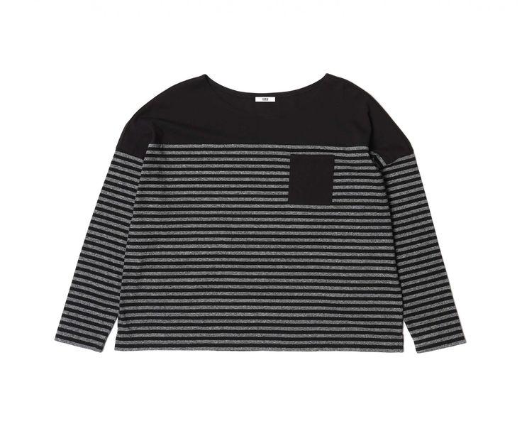 Josie Long Sleeve T-Shirt Yarn Dyed Jersey - Black Marbled Stripes