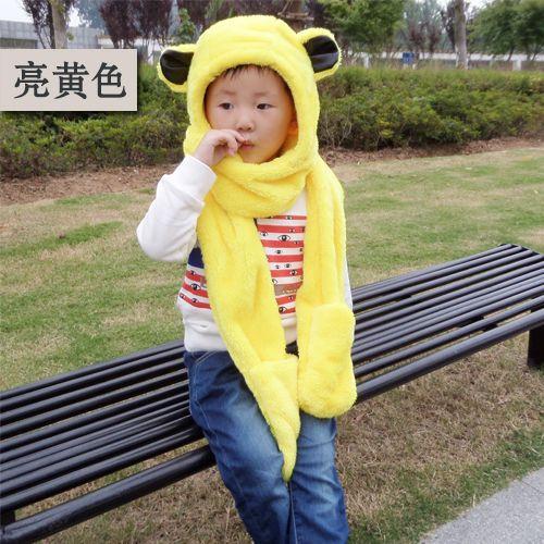 Новый творческий шарф шляпа перчатки для детей милый шарф шляпа перчатки для детей прекрасный уши меховая шапка шарф перчатки комплект