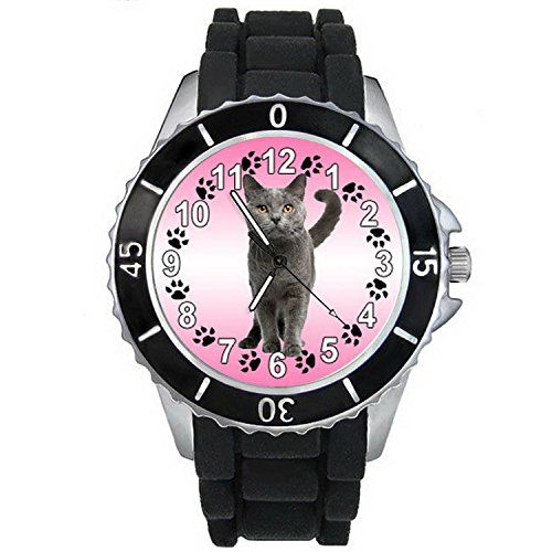 BMSC918 Chartreux Kitten Cat Mens Womens Black Silicone Band Quartz Wrist Watch * Check out this .