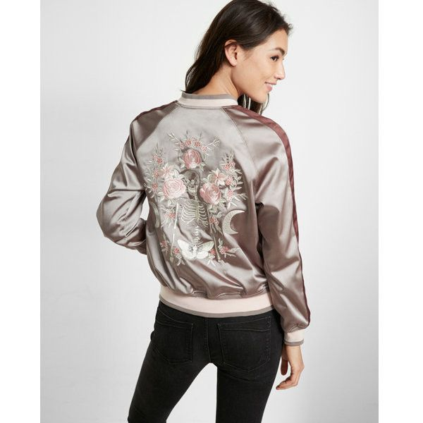 Express Embroidered Satin Skeleton Reversible Bomber Jacket ($101) ❤ liked on Polyvore featuring outerwear, jackets, grey, satin bomber jacket, satin jackets, embroidered bomber jackets, reversible bomber jacket and grey jacket
