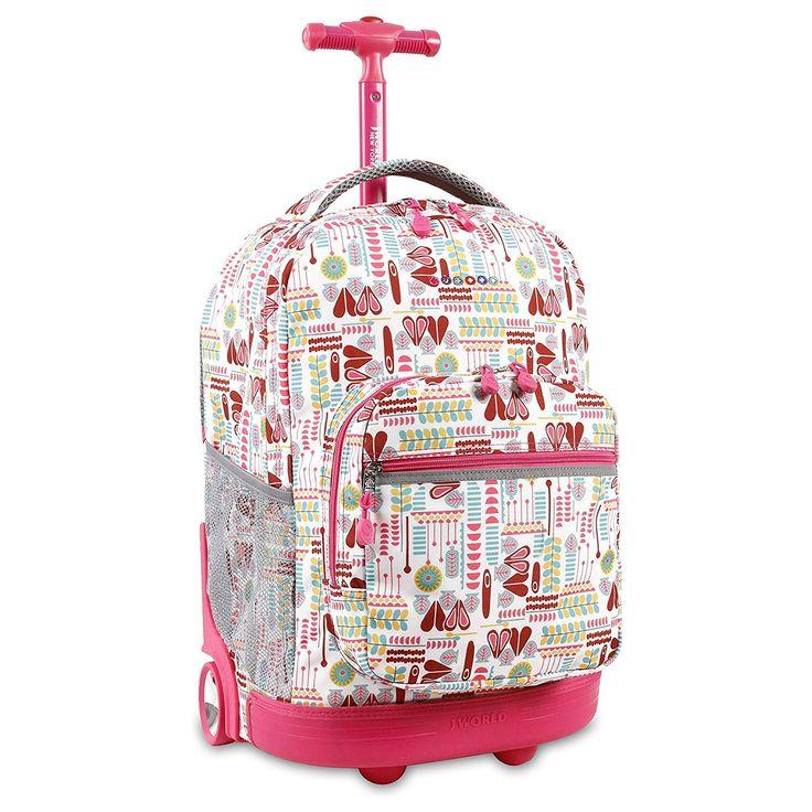 Kids Pink Hearts Graphic Theme Rolling Backpack Girly Fun Geometric Suitcase Girls School Bag Duffel Wheels Wheeling Luggage Lightweight Softsided