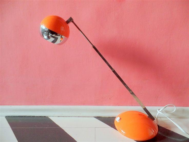 Wspaniała teleskopowa lampa Eichhoff Werke GmbH modern design pomarańczowy + chrom z lat 70. #vintage #vintageshop #vintagefinds #telescope #lamp #orange #german