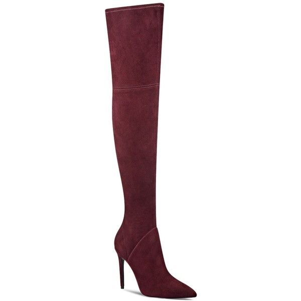 Kendall and Kylie Ayla Suede Over The Knee Boots ($235) ❤ liked on Polyvore featuring shoes, boots, dark red, faux suede boots, faux-fur boots, suede thigh high boots, above knee boots and synthetic boots