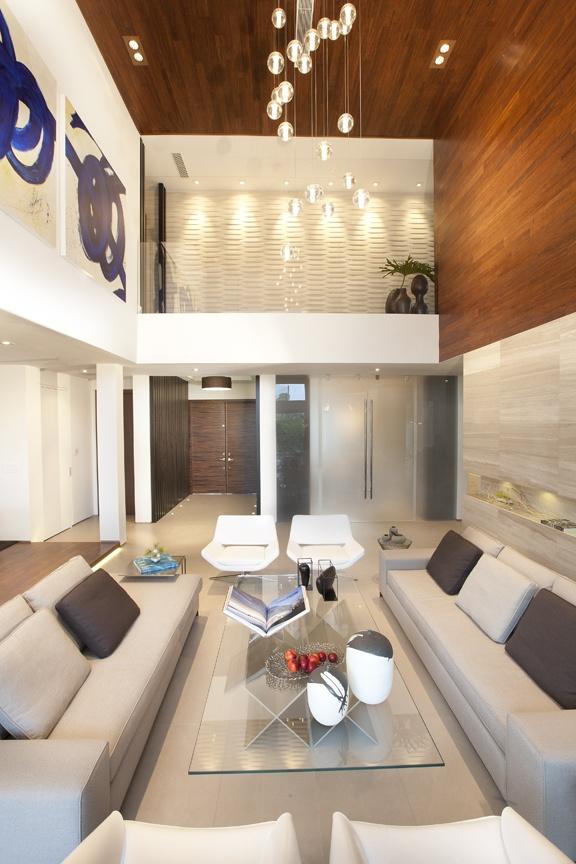 Modern Interior Design Project In Miami FL Bocci Lighting Contemporary Living Room Feature Wall