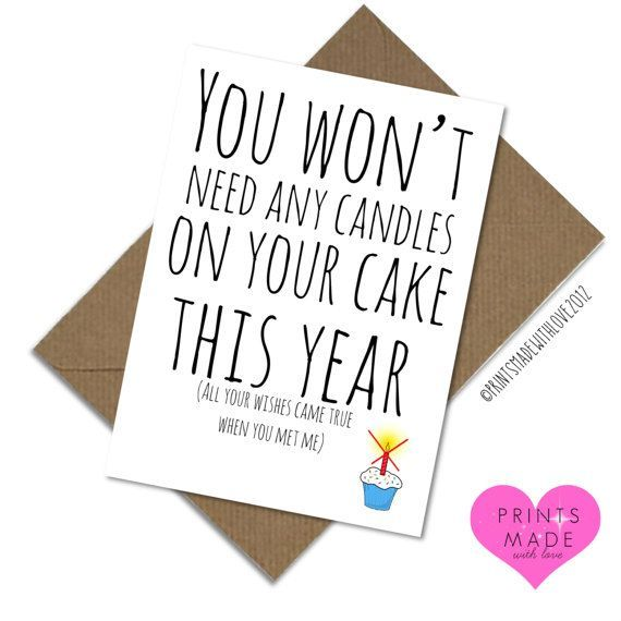 Boyfriend birthday card No candles needed girlfriend husband wife blank inside