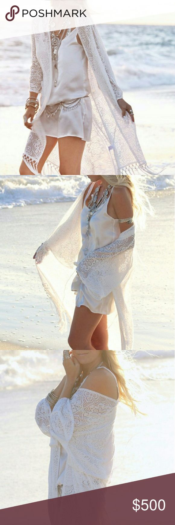 """COMING SOON Lace & Fringe Kimono Cardigan Coming soon! """"Like"""" to be notified when item is in stock! Tops"""