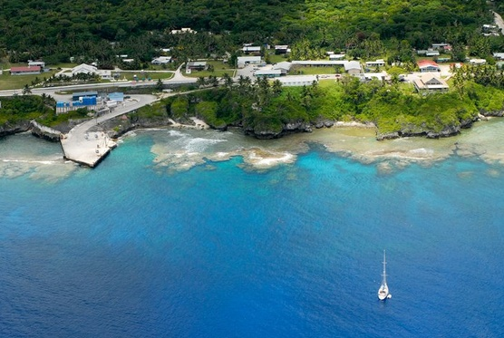 Niue Island - the only accessible way in for all cargo boats, passage liners and yachts through Alofi's Sir Roberts Wharf