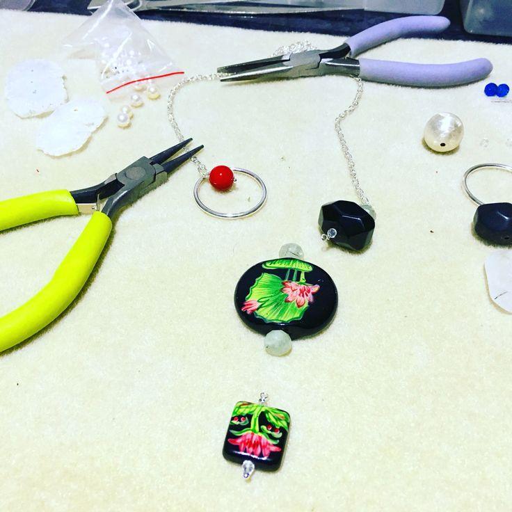A ceramic necklace in the works #design #unique #create #make #GGJewellery
