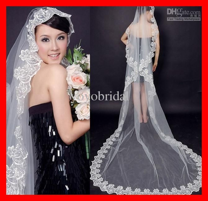 2016 Cheap 3M Stock Fashion Royal Lace Long Veils Applique Free Shipping Romantic White Wedding Bridal Veil