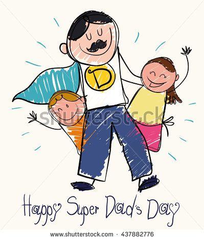 Children draw for Father's Day  with a super dad with moustache and cape with son and daughter in doodle style.
