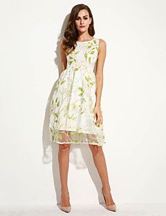 Women's+Going+out+Street+chic+A+Line+Dress,Print+Round+Neck+Midi+Sleeveless+Green+Polyester+Summer+–+AUD+$+37.17