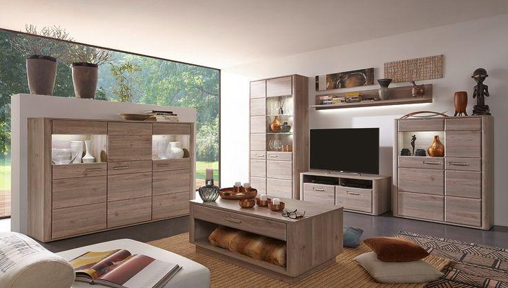 Wohnwand mit Highboard Ravenna Eiche Nelson 20685. Buy now at https://www.moebel-wohnbar.de/wohnwand-mit-highboard-ravenna-eiche-nelson-20685.html